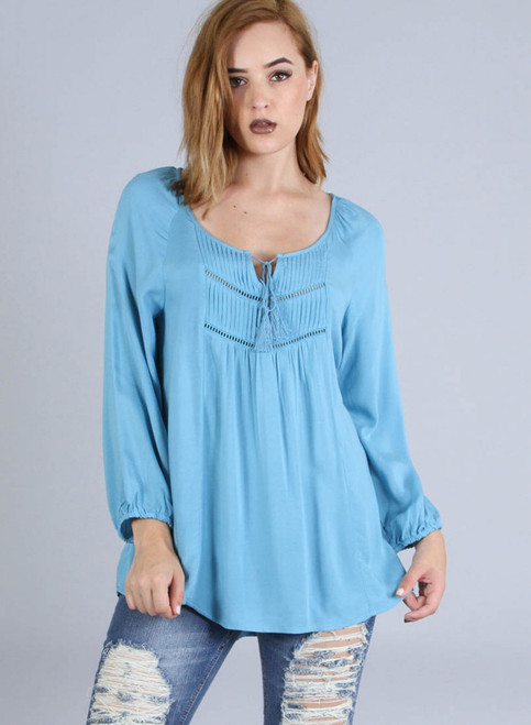 100% Rayon! Boho Peasant Top with Cutouts & Tassels. Teal Blue Sky.