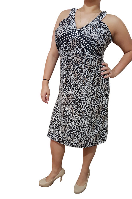 Plus Size Animal Print Dress With Studded Neckline! Brown Cheetah Print.