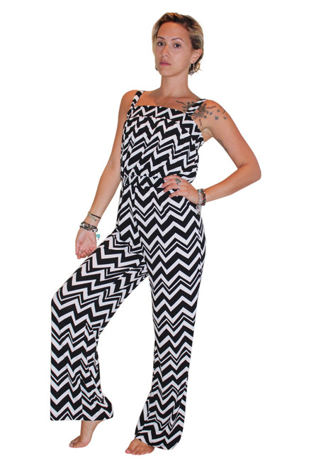 Black & White Chevron Striped Romper / Jumpsuit!