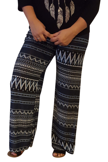 PLUS SIZE PALAZZO PANTS ARE 5% SPANDEX! NAVY BLUE AZTEC.