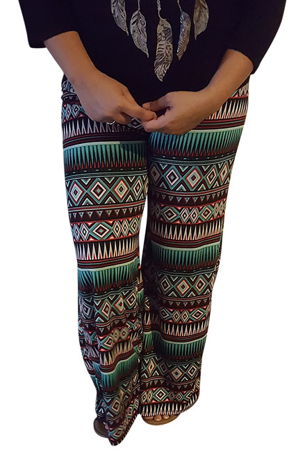 Palazza Pants are 5% Spandex! Green & Red Aztec.