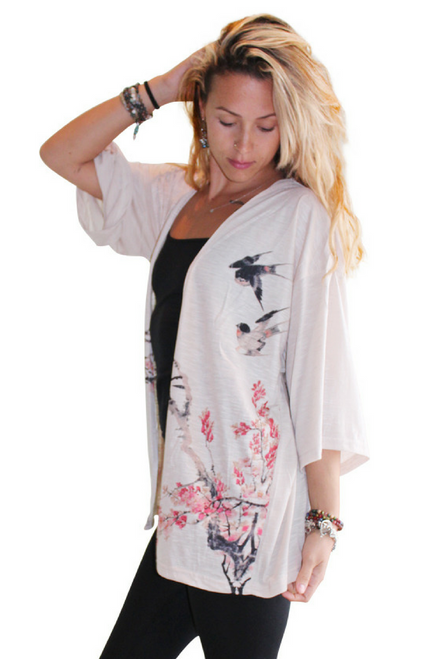 Plus Size Open Cardigan With Elegant Asian Print. Taupe.