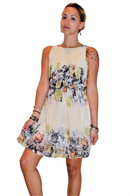 Fully Lined Floral Dress With Keyhole Back! Cream/Beige.
