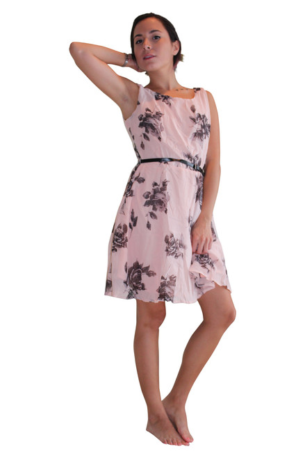 Belted Dress With Zipper. Pink With Black Floral.