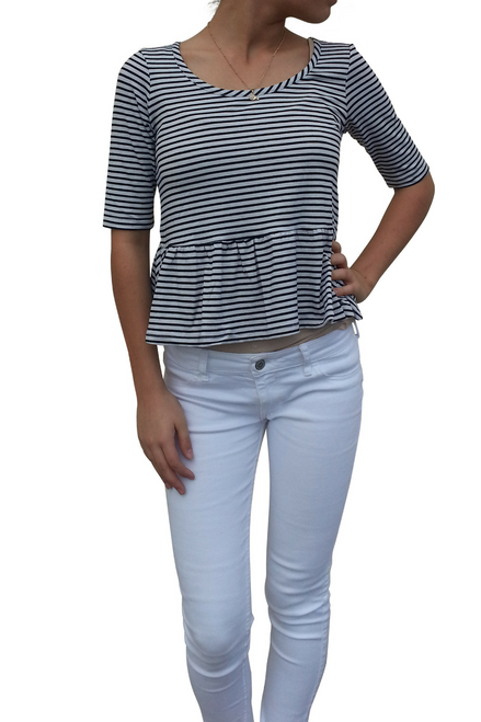 Black & White Striped Peplum Top From Derek Heart!