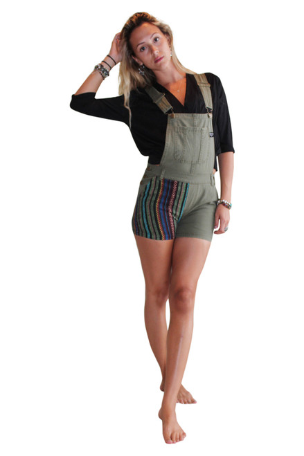 100% Cotton Romper Overalls in Army Green with Tribal Pattern Jute Accents!