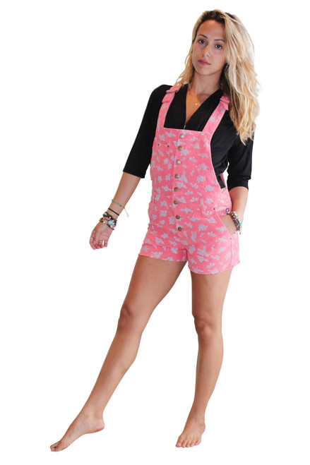 99% Cotton Corduroy Romper Overalls in Coral Pink with Floral Pattern!