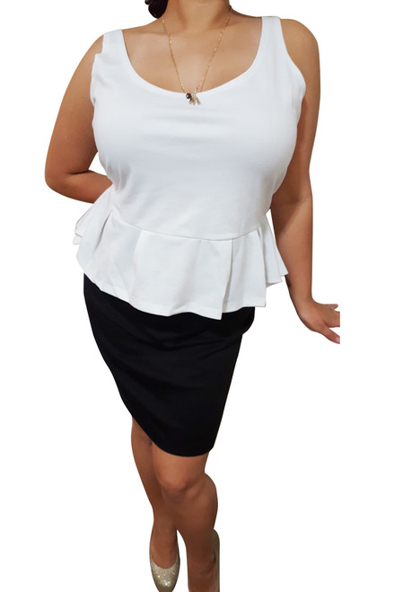 PLUS SIZE Peplum Dress from Amazing Brand: CAREN SPORT! Black & White Colorblock.