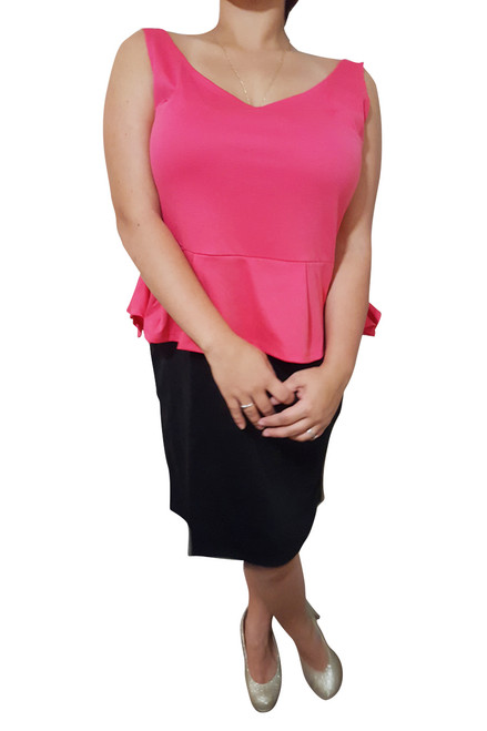 PLUS SIZE Peplum Dress from Amazing Brand: CAREN SPORT! Coral & Black Colorblock.
