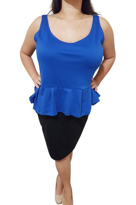 PLUS SIZE Peplum Dress from Amazing Brand: CAREN SPORT! Blue & Black Colorblock.