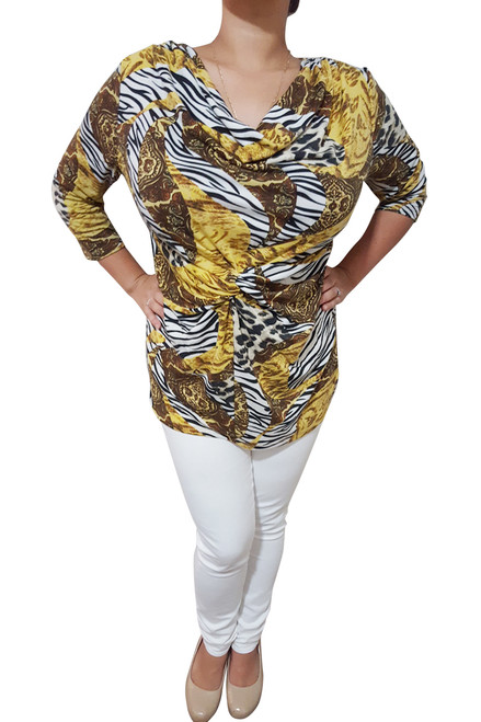 Plus Size Cowl Neck Top With Knotted Front. Yellow Animal Print.