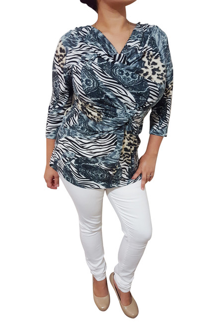 Plus Size Cowl Neck Top With Knotted Front. Grey Animal Print.