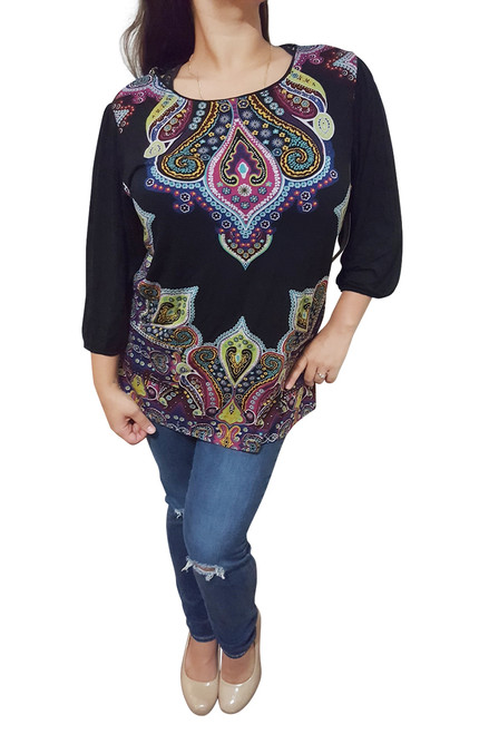 PLUS SIZE TUNIC TOP FROM JANE CLAY IS 100% RAYON! BLACK DASHIKI PAISLEY!