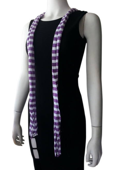 Purple & White Striped Skinny Scarf with Tassels!