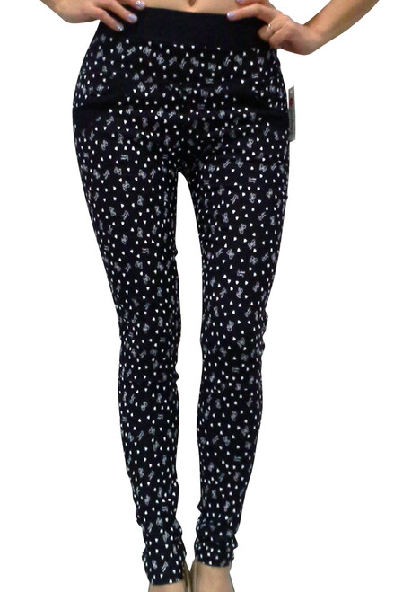 Stretch Pants / Jeggings. 70% Rayon! Black with Little White Hearts & Bows!