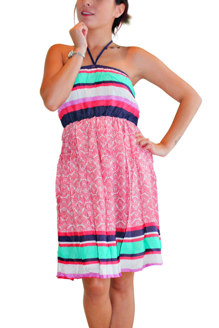 100% Cotton Fully Lined Dress. Red Paisley & Stripes.