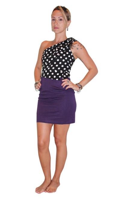 100% Cotton Polka Dot Dress Is Retro Chic! Black & White With Purple.
