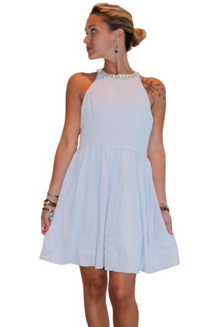 Baby Blue Halter Dress with Turquoise Necklinace!