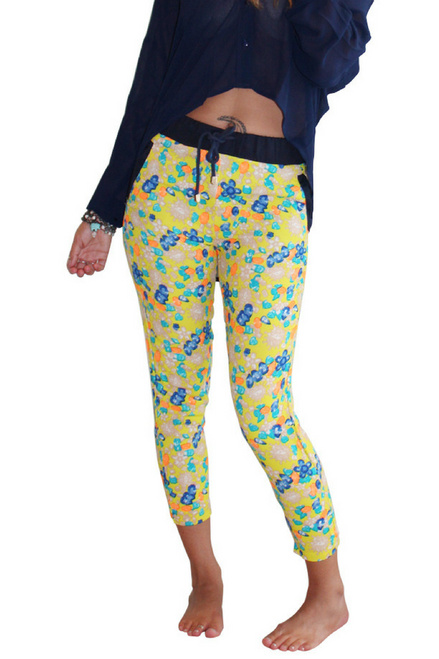 Yellow Multicolor Polka Dot Joggers from Boutique Brand: LUCY PARIS!