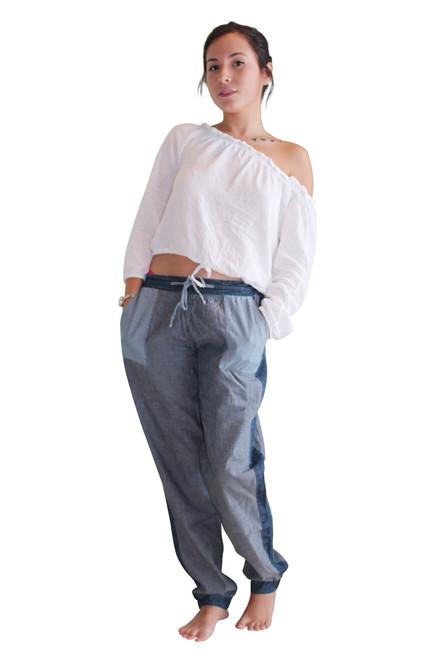 Color Block Denim Joggers Spoon Jeans. Pockets & Drawstring.