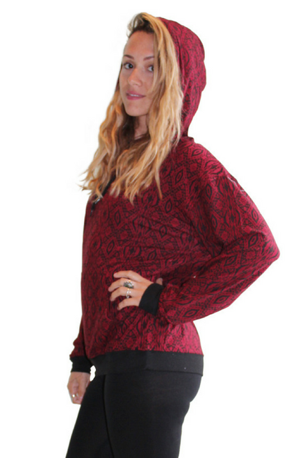 Cozy, Thermal Lined Pullover Hoodie With Tribal Print! Red/Black