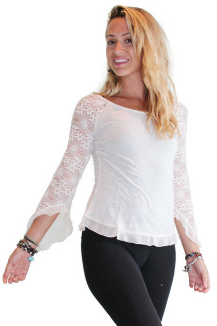 Boho-Chic Lace Top with Flare Sleeves! Ivory White.