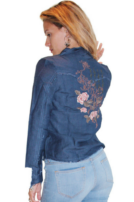 Long Sleeve Embroidered Western Shirt. Denim Blue. Button Down. 50% Rayon. Boutique Quality.