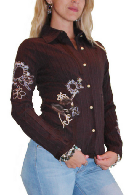 100% Cotton Brown Western Wear Button Down Shirt With Embroidery!