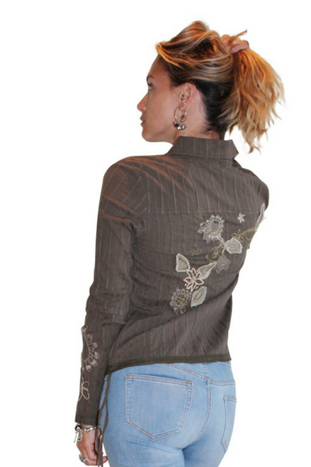 100% Cotton Olive Western Wear Button Down Shirt With Embroidery!
