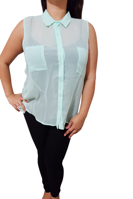 Sleeveless, Sheer Plus Size Button Down Top. Mint.