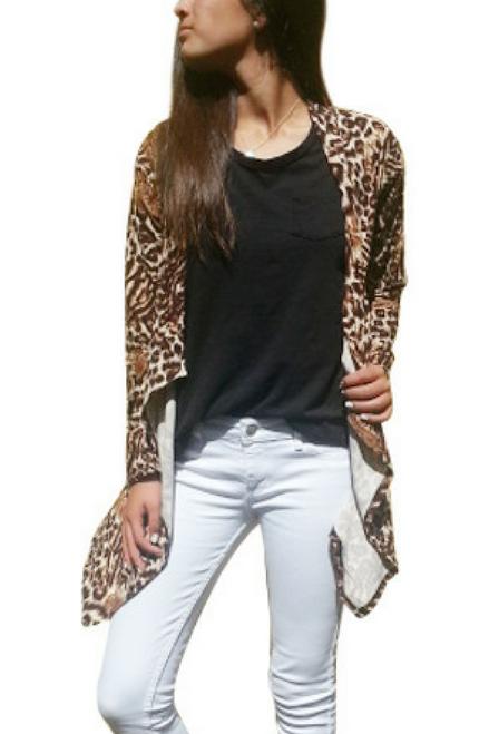 Open Cardigan, Flyaway. Leopard / Cheetah Print.