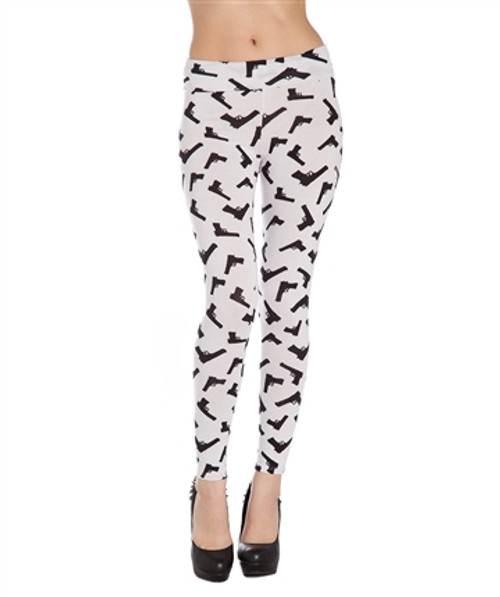 Long Leggings are White with Black Guns for Polka Dots! 95% Cotton.