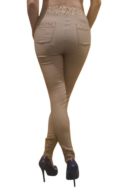 70% Rayon Jeggings! Beige With Leopard Print Trims Pockets Zipper Ankles.
