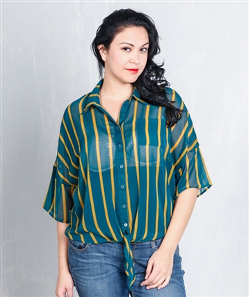 PLUS SIZE Teal & Mustard Striped Button Down Top from CLEO!