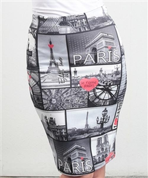 Long Paris Print Pencil Skirt from CLEO!