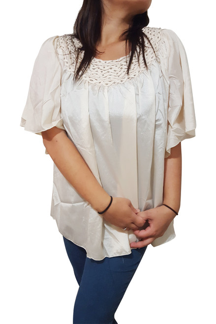 PLUS SIZE Beige Top with Braided Neckline from JAJA & CO!