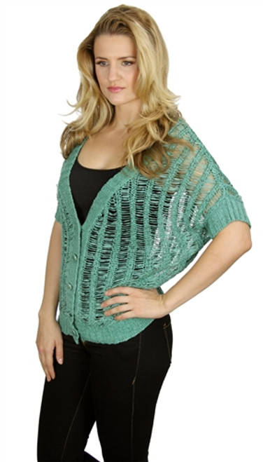 Green Crochet Buttondown Cardigan from COCO ROJA!