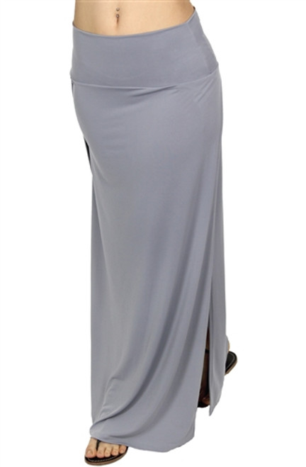 LONG GREY MAXI SKIRT WITH SLIT SIDES!
