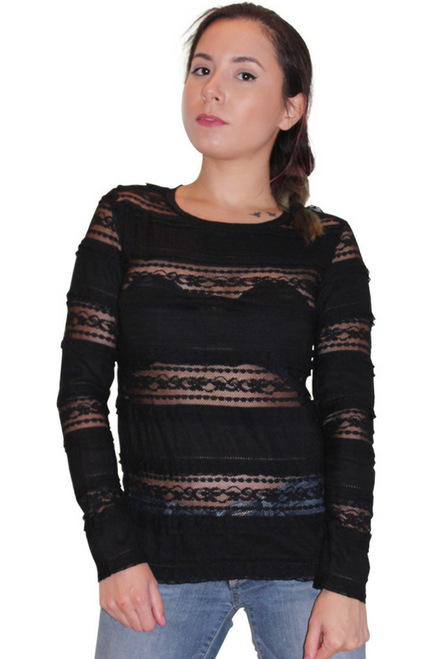 BLACK LACE LONG SLEEVE TOP FROM AMERICA'S HOTTEST BRAND!