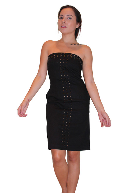 Strapless Black Dress with Zipper Back & Studs! Cotton.