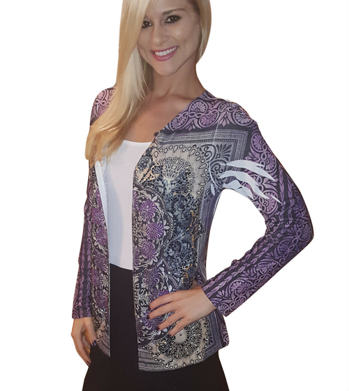 Flyaway Open Cardigan has Retro Sublimation and Stones! Purple. Made In USA.