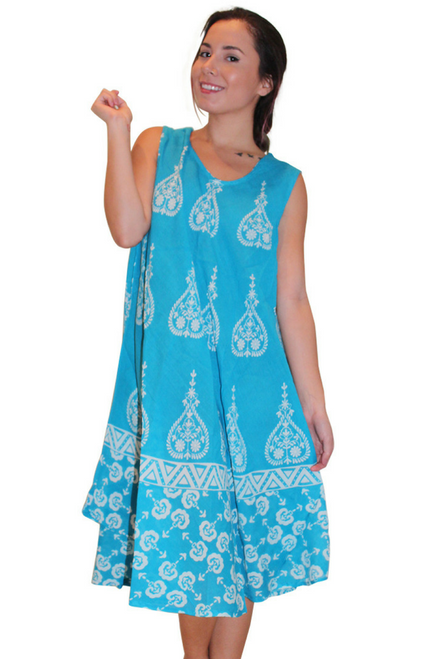 100% Rayon Boho Batik Dress! Turquoise Blue. One Size (Fits up to Size 18)