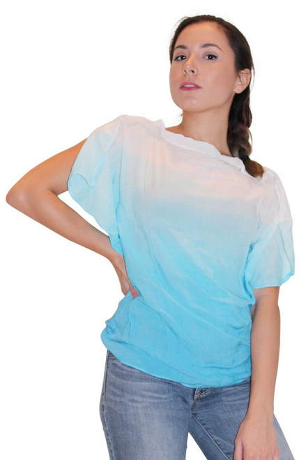 100% Cotton Blue/White Ombre Top With Cowl Neck!