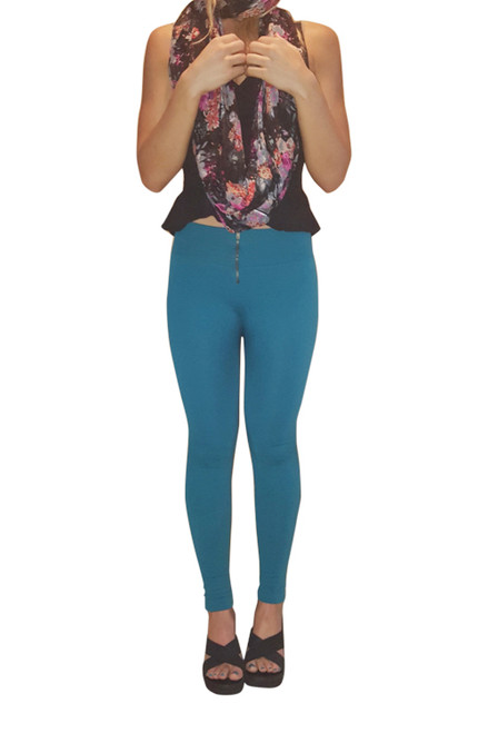 Thick, Stretchy Jeggings With High Waist And Long Zipper! Teal.