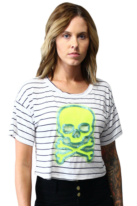 Rayon, Pinstriped Top With Embroidered Skull!