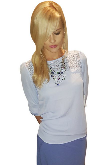 Long Sleeve Baby Blue Top Crochet & Keyhole Back.