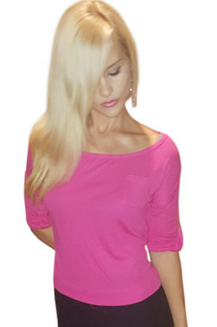 From COLOR STORY! 65% Cotton Top. Cuffed Long Sleeve with Button. Fuchsia.