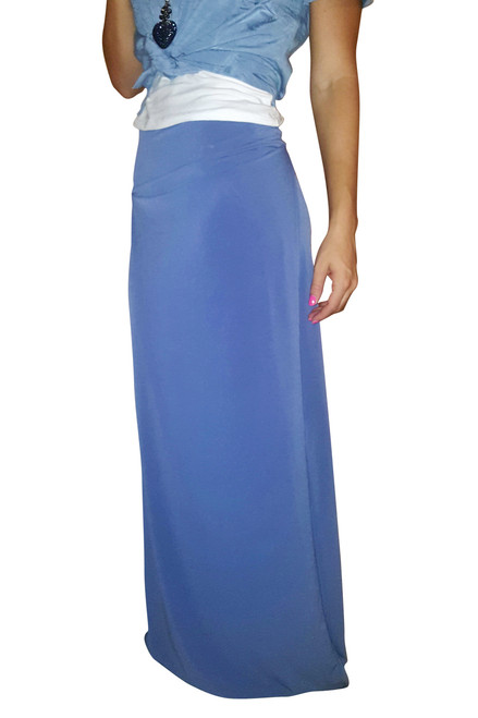 LONG MAXI SKIRT WITH SLIT SIDES! DUSTY BLUE.