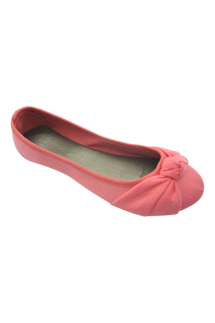 Coral Pink Ballet Flats with Adorable Bow! Frenzy Footwear.