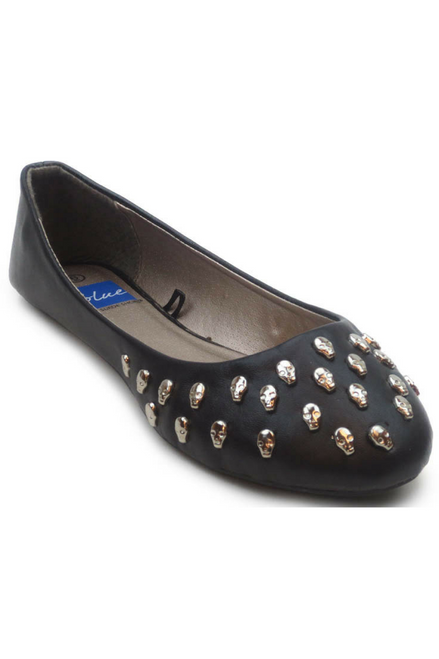 Adorable Black Flats with Skull Studs!